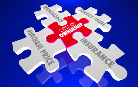 Cost of Ownership Maintenance Energy Insurance Puzzle 3d Illustration Stock Photo