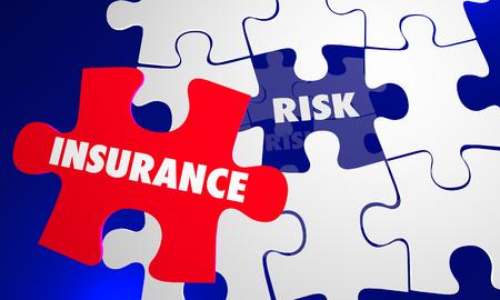 Insurance Coverage Vs Risk Avoid Liability Puzzle Words 3d Illustration