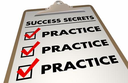 Success Secrets Practice Prepare Succeed Checklist 3d Illustration