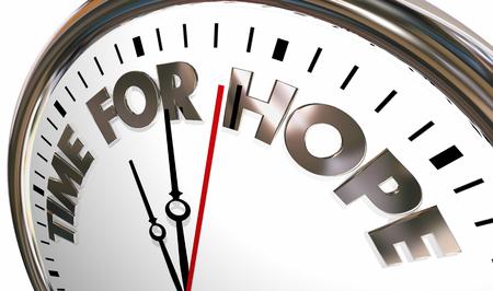 Time for Hope Faith Belief Words Clock 3d Illustration
