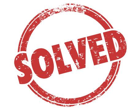 Solved Solution Solving Problem Word Stamp Illustration Reklamní fotografie