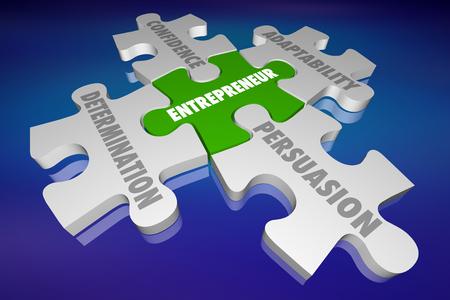 Entrepreneur Qualities Determination Adpatability Puzzle 3d Illustration
