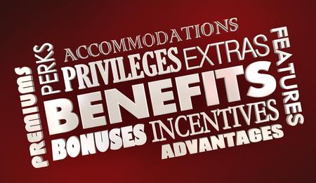 Benefits Advantages Bonuses Word Collage 3d Illustration