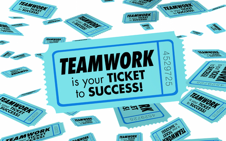 Teamwork Ticket to Success Working Together 3d Illustration Standard-Bild - 106731412