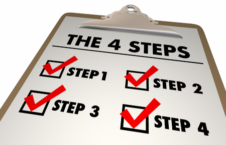 4 Four Steps Stages Directions Checklist Clipboard 3d Illustration