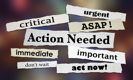 Action requise urgente Important ASAP Agir maintenant Illustration 3d