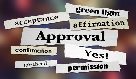 Approval Positive Confirmation Yes Answer Headline 3d Illustration Stock Photo