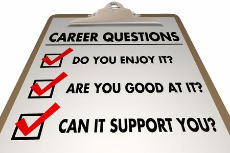 Career Advice What Enjoy Good At Checklist Clipboard 3d Illustration Stock Photo