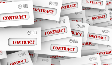 Contract Legal Document Agreement Envelopes 3d Illustration Stock Photo
