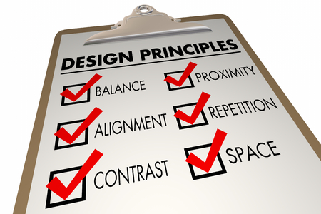 Design Principles Elements Checklist Clipboard 3d Illustration