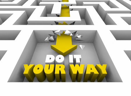 Do it Your Way Personal Special Method Maze 3d Illustration