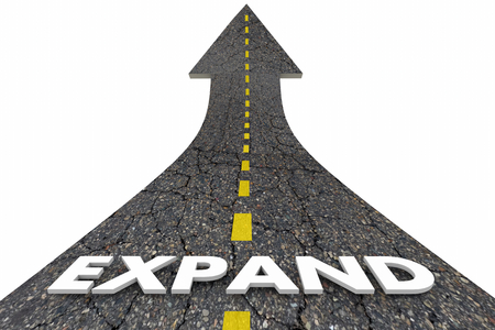 Expand Growing Increase Expansion Growth Road Word 3d Illustration