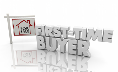 First Time Buyer New Home Owner for Sale Sign 3d Illustration 스톡 콘텐츠