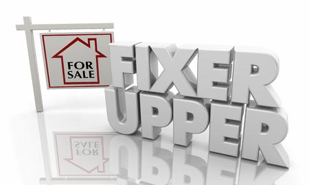 Fixer Upper Repair Home Haus zum Verkauf Zeichen 3d Illustration Standard-Bild