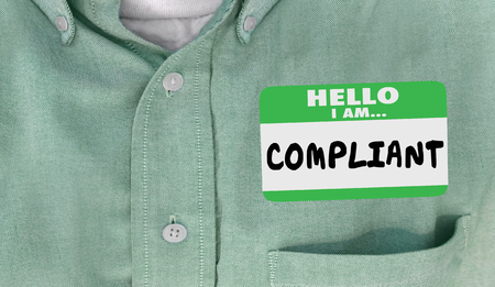 Hello I Am Compliant Following Rules Laws Compliance Name Tag 3d Illustration Stock fotó