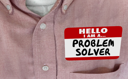 Hello Im a Problem Solver Solution FInder Name Tag 3d Illustration