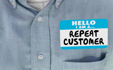 Hello Im a Repeat Customer Name Tag Coming Back Name Tag 3d Illustration 写真素材