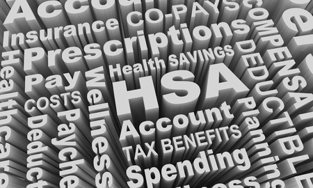 HSA Health Savings Account Medical Care Pay Costs Word Collage 3d Illustration Archivio Fotografico - 106581748