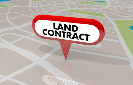 Land Contract Home Ownership Buy Lease Property Map Pin 3d Illustration Stock Photo