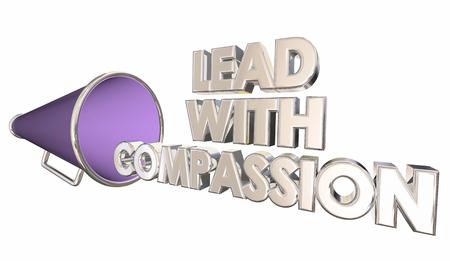 Lead with Compassion Care Sympathy Bullhorn Megaphone 3d Illustration