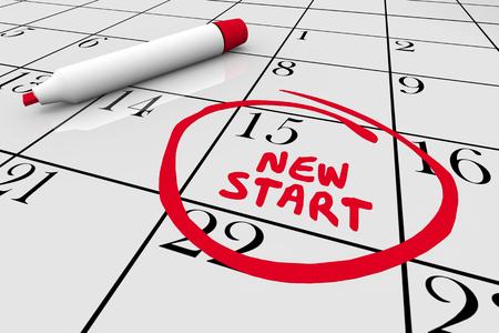New Start Beginning Day Circled Calendar Date 3d Illustration 스톡 콘텐츠