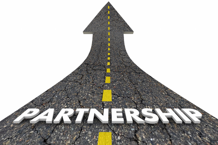 Partnership Cooperation Collaboration Work Together Road Word 3d Illustration Stock Photo