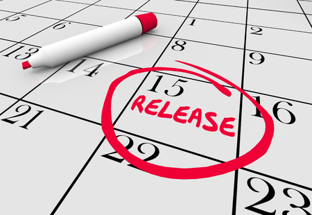 Release New Product Launch Available Calendar Day 3d Illustration Stock Photo