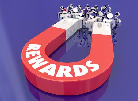 Rewards Incentives Appreciation Magnet Pulling People 3d Illustration