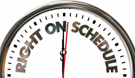Recht auf Zeitplan Zeit Pünktlichkeit Ankunftsuhr 3d Illustration