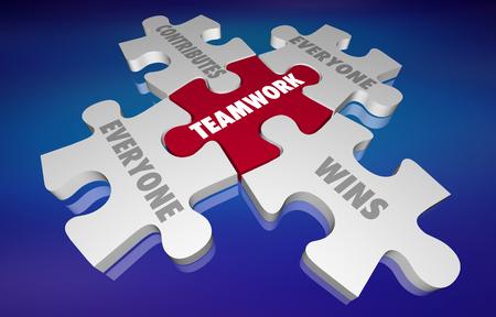 Travail d'équipe tout le monde contribue et gagne des pièces de puzzle Illustration 3d