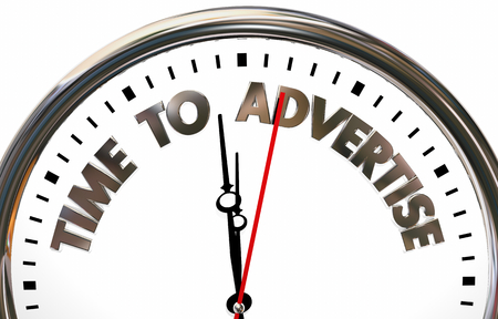 Time to Advertise Marketing Promotion Business Advertising Plan Clock 3d Illustration Stock Photo