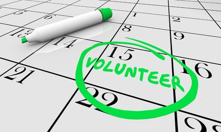 Volunteer Help Support Charity Fund Raiser Calendar Day 3d Illustration