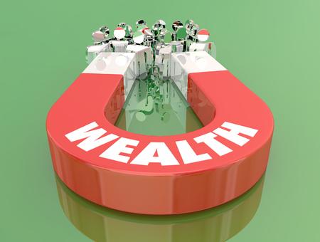Wealth Money Income Earning Magnet Pulling People 3d Illustration Imagens