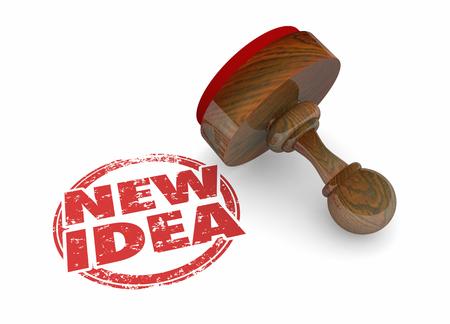New Idea Innovation Inventive Modern Word Stamp 3d Illustration Stockfoto