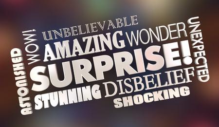 Surprise Shock Surprising News Word Collage 3d Illustration Stock Photo