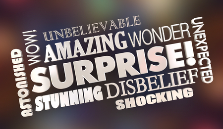 Surprise Shock Surprising News Word Collage 3d Illustration 스톡 콘텐츠