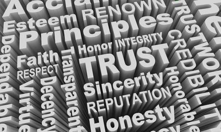 Trust Reputation Honesty Principles Word Collage 3d Illustration