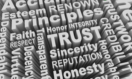 Trust Reputation Honesty Principles Word Collage 3d Illustration