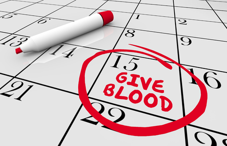 Give Blood Drive Donate Reminder Calendar Date 3d Illustration Stock Photo