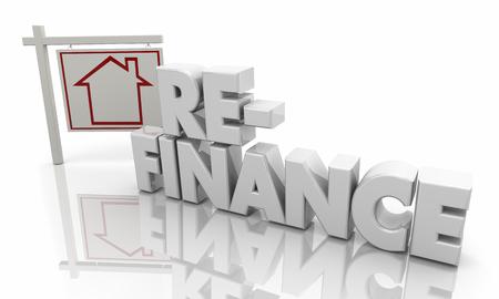 Refinanzierung des Hypothekendarlehens Schuldenbilanz Neue Interet Rate 3d Illustration Standard-Bild