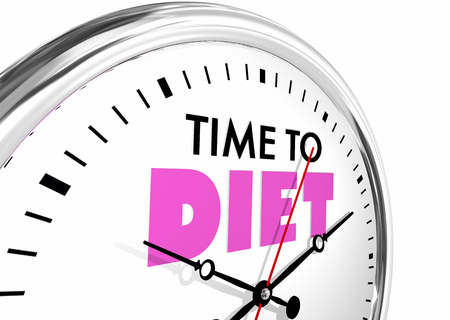 Time to Diet Lose Weight Eat Less Clock Words 3d Illustration Stock Photo
