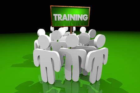 Training Job Skill Learning Apprentice People Sign 3d Illustration