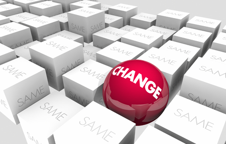 Change Vs Same Innovate Adapt Improve Sphere in Cubes 3d Illustration Stock Photo