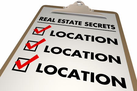 Real Estate Secrets Location Best House Property Area Checklist Clipboard 3d Illustration