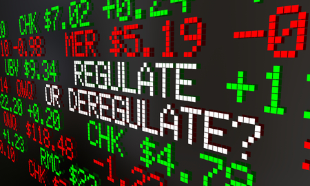 Regulate or Deregulate Stock Market Financial Industry Ticker Prices 3d Animation