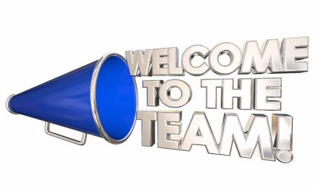 Benvenuto nell'illustrazione 3d del megafono dell'altoparlante di bordo di introduzione della squadra