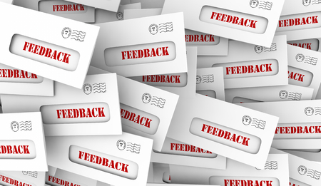 Feedback Comments Opinions Letters Envelope Pile 3d Illustration Stockfoto - 106734565
