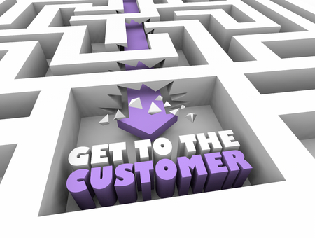 Get to the Customer New Prospect Deal Maze 3d Illustration