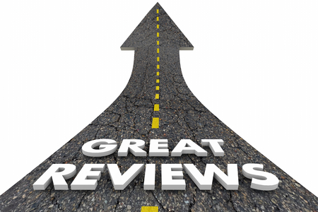 Great Reviews Good Positive Feedback Comments Road Words 3d Illustration