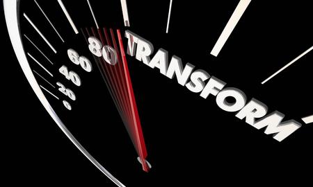 Transform Change Evolve Innovate Speedometer Word 3d Illustration